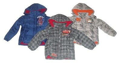 Boys Coats Padded Jacket Hooded Spiderman Disney Cars Or Planes