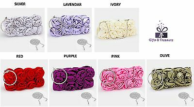 Women Elegant Satin Rose Flower Evening Zip Clutch Purse Wedding Bridal Party