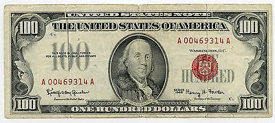 1966 Circulated $100 Red Seal United States Note - USU AG744