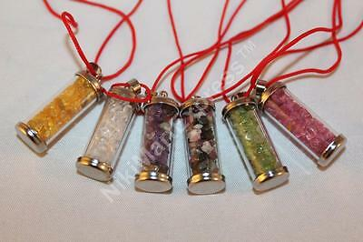 Feng Shui Amulet Wish Bottle with Citrine Crystal in Necklace Pendant