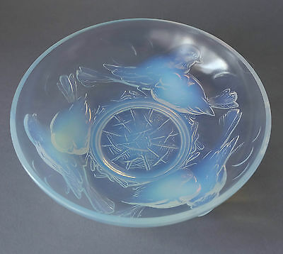 French Ezan moulded glass bowl with design of birds.
