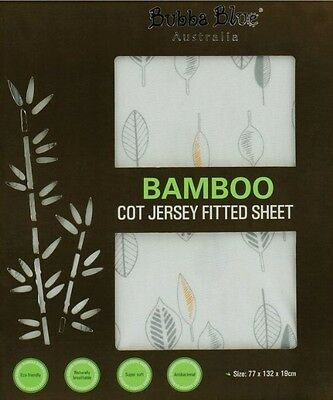 Bubba Blue Cot Jersey Fitted Sheet (Bamboo Leaf)