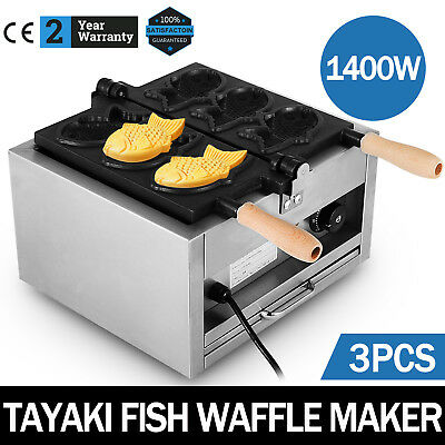 Commerical Taiyaki Fish Waffle Maker Machine Open Mouth Diy Making Japanese