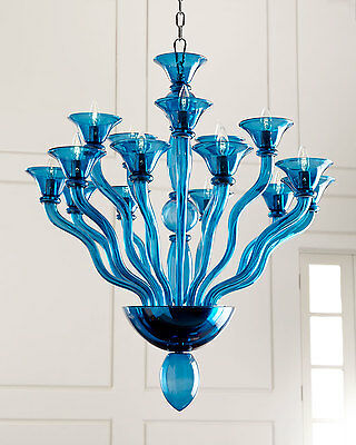 NEW Horchow Venetian Murano Aqua BLUE Glass Chandelier  $3155 XL 15 LIGHT