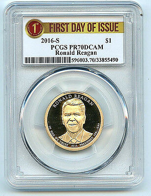 2016 S Ronald Reagan Dollar PR70 DCAM PCGS $1 Proof Coin First Day Issue C5