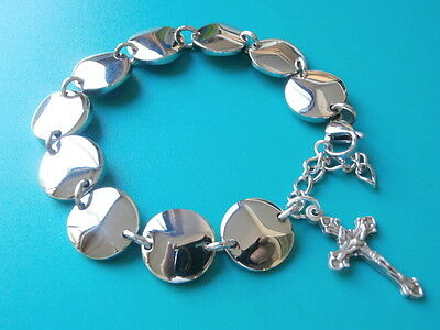 Stainless Steel Silver Rosary Bracelet w/ Cross Crucifix Round Disc Bead 18-22cm