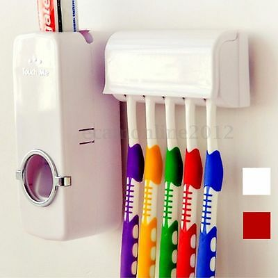 Automatic Toothpaste Dispenser & Toothbrush Holder Up to 5 Wall Mount Rack Bath
