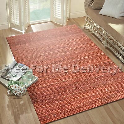 SUMA NATURAL FLATWEAVE JUTE SUNSET RED FLOOR RUG (M) 160x225cm **FREE DELIVERY**