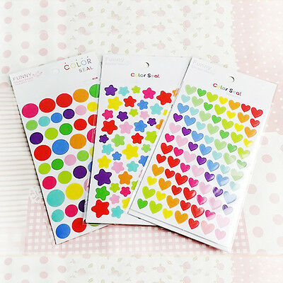 6Pcs Delicate Heart Star Paper Stickers Colorful For Diary Album Decorative CA