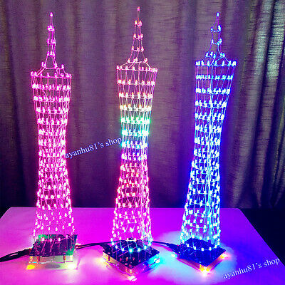 Light Cube Electronic Kit Tower Model Music Spectrum LED Display Wireless Remote