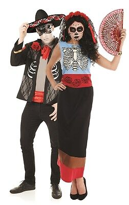 Couples Ladies & Mens Day Of The Dead Halloween Fancy Dress Costumes Outfits