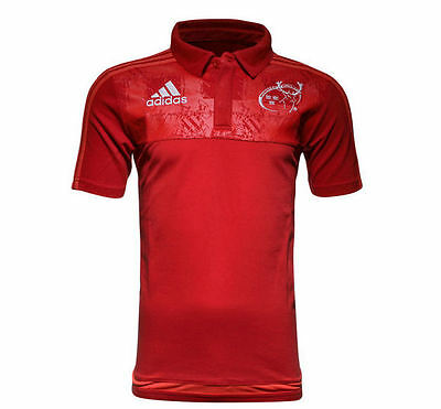 2015-16 Munster adidas Rugby Players Media Polo Shirt Top Red *BNIB* (ALL SIZES)