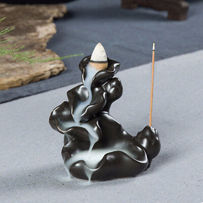 Ceramic Glaze Incense Cone Burner Backflow Censer Tower Holder Buddhist Tibet UK