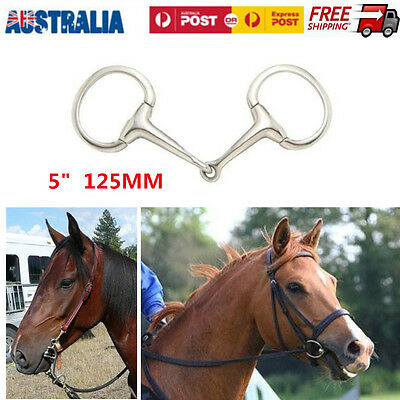 "5"" 125mm LORINA HOLLOW MOUTH EGGBUTT SNAFFLE BIT STAINLESS STEEL"