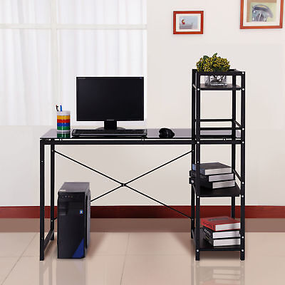 HOMCOM Computer Desk PC Shelf Office Home Table Study Work Glass Storage Black