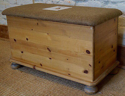A Vintage Pine Blanket / Toy Box upholstered in MOON Fabrics