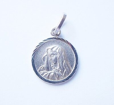 Sterling Silver .925 Our Lady Mother of Sorrows Medal Virgin Mary Pendant Charm