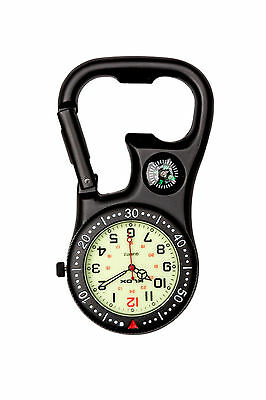 Black Clip-On Carabiner Luminous Face FOB Watch for Doctors Nurses Paramedics