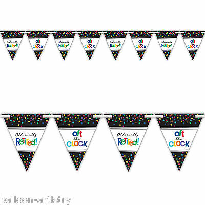 4.5m Officially Retired Happy Retirement Party Pennant Flag Banner Bunting