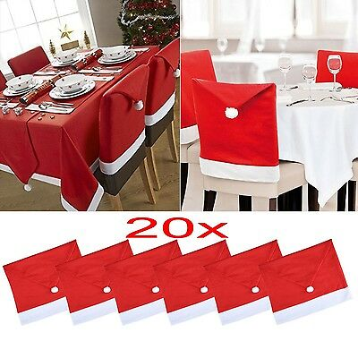 20x Santa Hat Coverings Chair Back Covers Christmas Chair Set Dinner Home Decor