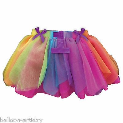 Rainbow Colours Happy 1st Birthday Girl Party Gift Accessory Tutu Skirt