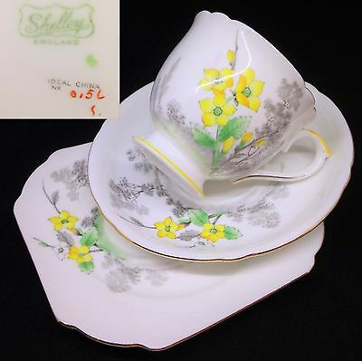 Shelley 1930s Ideal China 0156 Yellow English Vintage Bone China Trio Set RARE