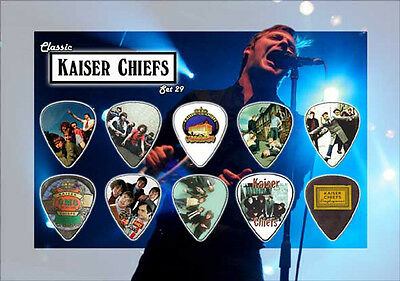 Kaiser Chiefs guitar picks on photographic background