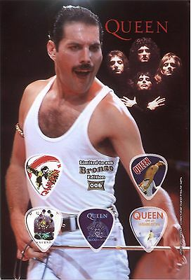 Queen - Bronze - guitar picks on photographic display
