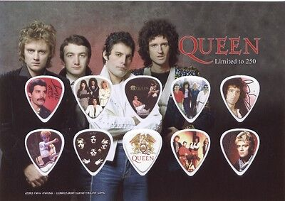 Queen (2) guitar picks on photo display LIMITED