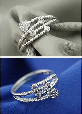 HOT Jewelry 18k White Gold Plated Adjustable Cubic Zirconia CZ Women Ring Gift A