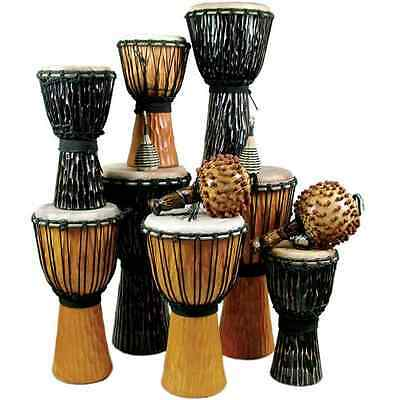 12 Player Wooden Djembe Drum Pack by World Rhythm Percussion - African