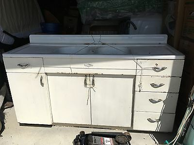 1950s VINTAGE YOUNGSTOWN DOUBLESINK KITCHEN ANTIQUE