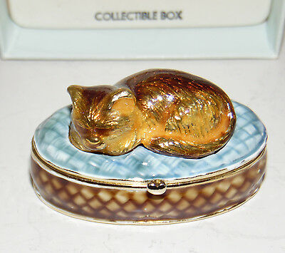 "Monet ""sleeping Cat"" Enameled Hinged Trinket Box In Orig. Box"