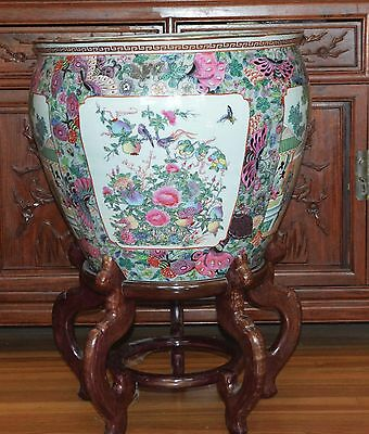 Large Chinese Porcelain Fish Bowl Planter