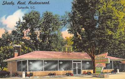 Turbeville South Carolina Shady Rest Restaurant Antique Postcard K40959