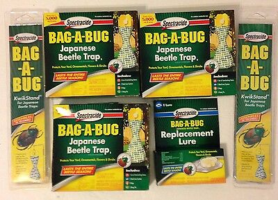 3 Spectracide Japanese Beetle Trap Bag A Bug + 1 Replacement Lure +2 Kwik Stands