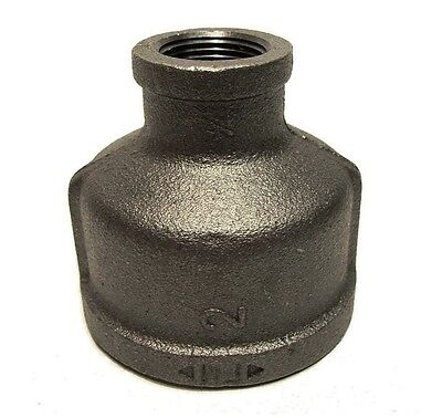"""2"""" X 3/4"""" Inch Black Iron Pipe Threaded Reducer Coupling Fitting Plumbing"""