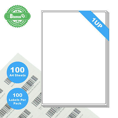 100 Sheets 1 Label Per Page 100 Labels 210x297mm A4 Office Mailing Labels