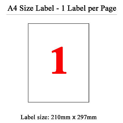 200 Sheets 1 Label Per Page 200 Labels 210x297mm A4 Office Mailing Labels