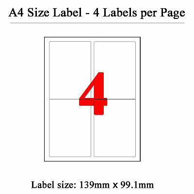 100 Sheets 4 Labels Per Page 400 Labels 139×99.1mm A4 Office Mailing Labels