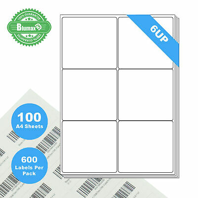 100 Sheets 6 Labels Per Page 600 Labels 99.1×93.15mm A4 Office Mailing Labels