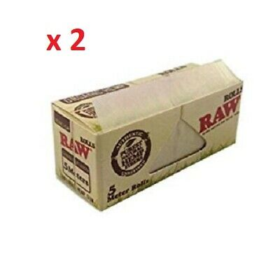 RAW 2 x Organic Rolls 5 meter Natural unrefined Rolling Papers