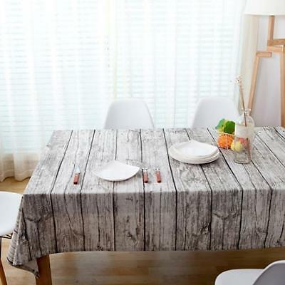 Wood Print Cotton Table Cloth Home Coffee Dining Room Table Cover 7 Sizes
