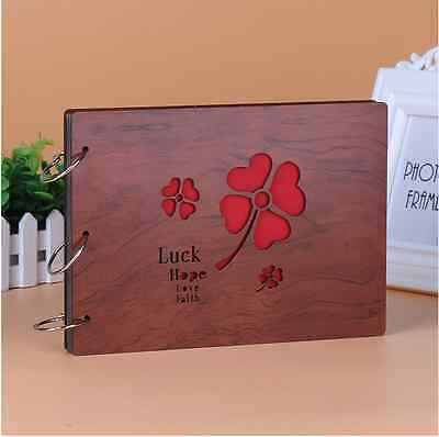 DIY 30Pages 27.3 x 19.8cm Wood Cover 3 Rings Photo Album Scrapbook LUCK CLOVER