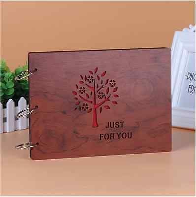 DIY 30Pages 27.3 x 19.8cm Wood Cover 3 Rings Photo Album Scrapbook JUST FOR U