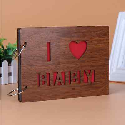 "DIY 30Pages 8"" 22 x 16cm Wood Cover 2 Rings Photo Album Scrapbook I LOVE BABY"