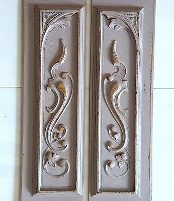 2 ANTIQUE FRENCH CARVED WOOD PEDIMENT PANEL Grey painted FOR FURNITURE DOOR WALL