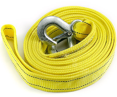 4.5M Heavy Duty 5 Ton Car Tow Cable Towing Pull Rope Strap Hooks Road Recovery