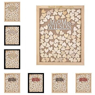 Personalised Mirror Mr & Mrs Rustic Wooden Drop Top Wedding Guest Book Box Frame
