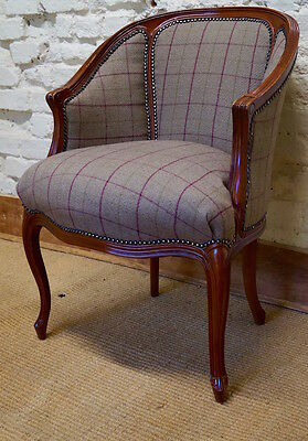 A mid 20th Century French Gondola Bergere Armchair in Balmoral Tartan